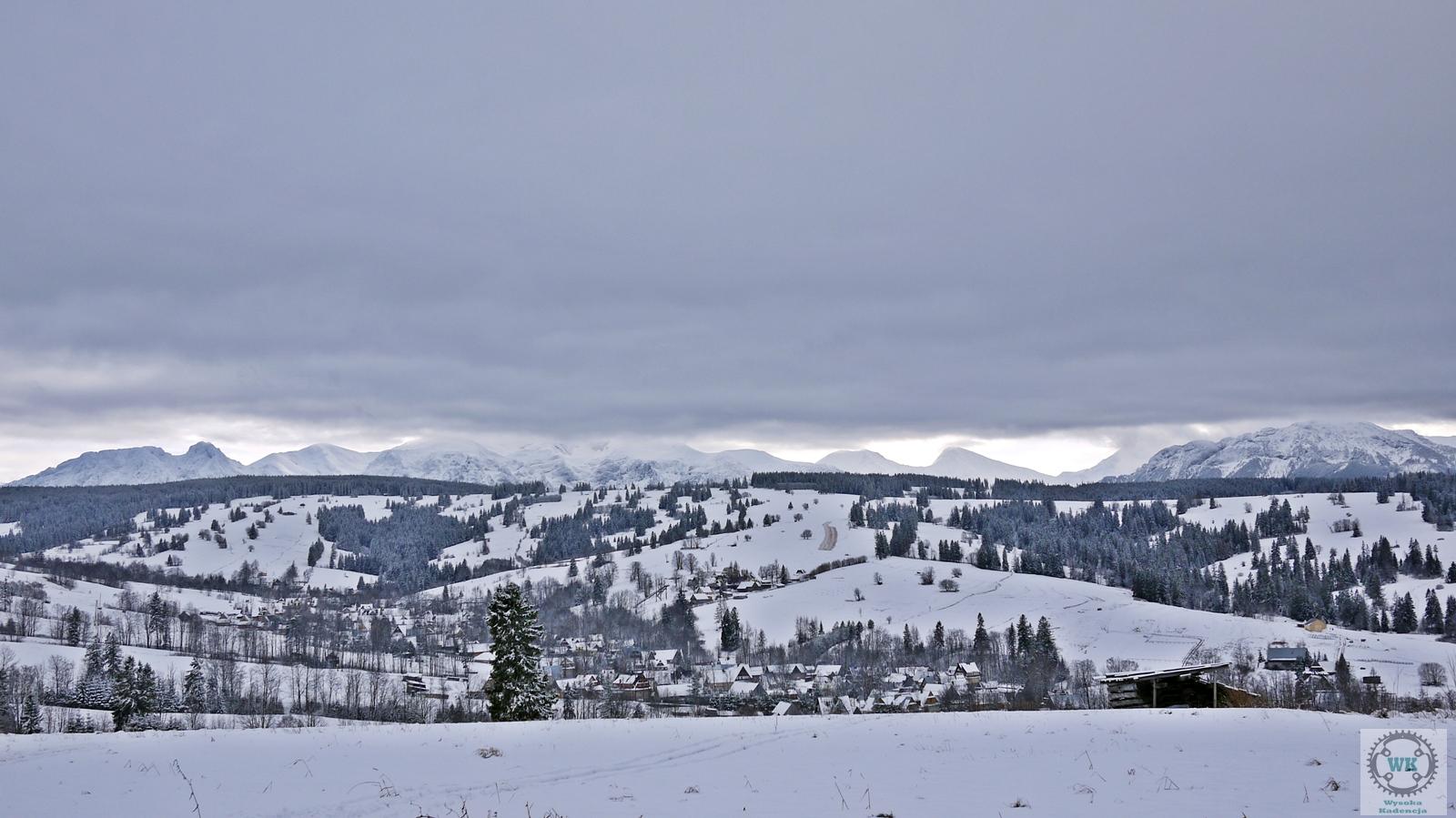 widok na giewont i tatry zimą